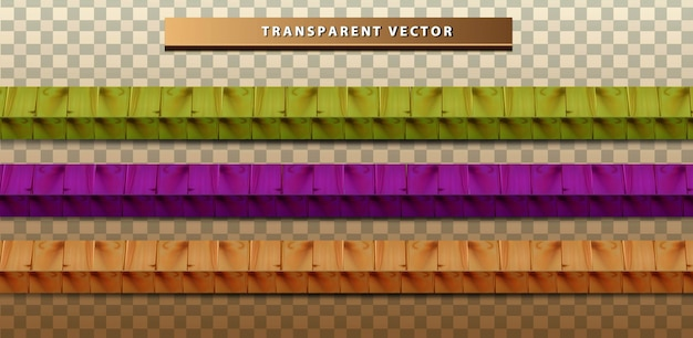 Set collection colorfull wood texture transparent