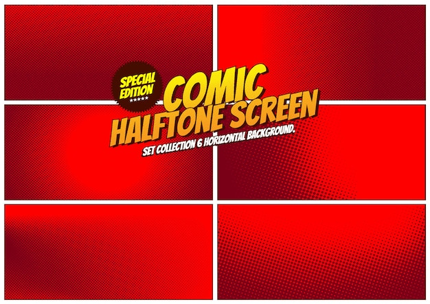 Set collection comic halftone screen background.