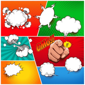 Set collection comic speech box template colorful background.