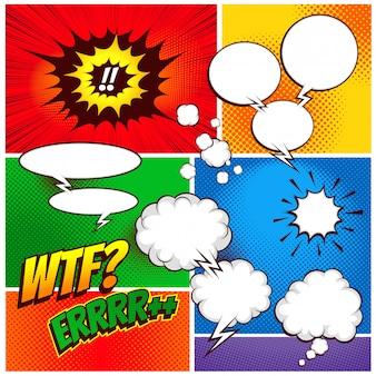 コレクションコミック音声ボックステンプレートのカラフルな背景を設定します。