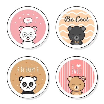 Set collection of cute bear with doodle round card cartoon icon illustration flat cartoon style design