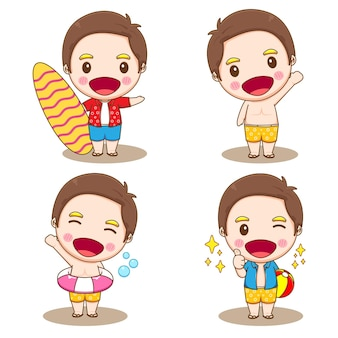 Set collection of cute boy character doing summer activities