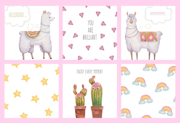 Set collection of cute cards with llamas and alpacas, cacti, stars, diamonds, watercolor illustration