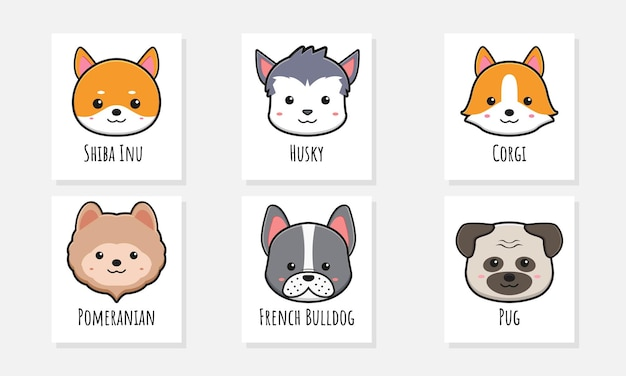 Set collection of cute dog poster card doodle cartoon icon illustration design flat cartoon style