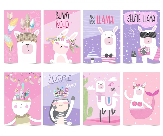 Set collection cute greeting card  pack