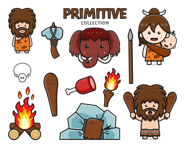 Set collection of cute primitive caveman cartoon icon clipart illustration. design isolated flat cartoon style