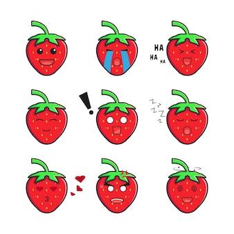 Set collection cute strawberry emoticon cartoon icon illustration. design isolated flat cartoon style