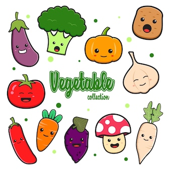 Set collection of cute vegetable cartoon doodle clip art card icon illustration design flat cartoon style