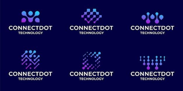 Set of collection digital technology logo bundle inspiration template