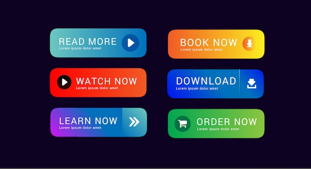 Set collection of download button watch now order now and read more for web design asset