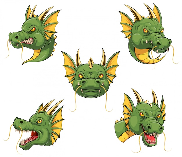 Set collection of dragon head mascot