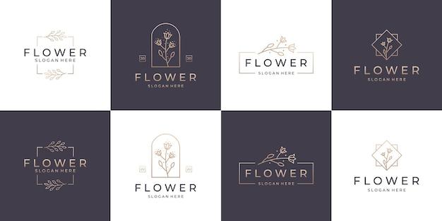 セットコレクションエレガントな花の豪華なロゴのデザイン