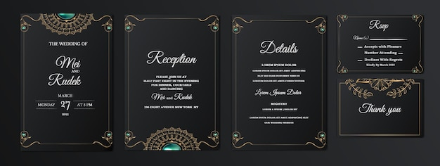 Set collection elegant save the date wedding invitation card