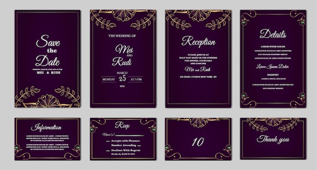 エレガントなセットコレクションは、日付の結婚式の招待カードを保存します