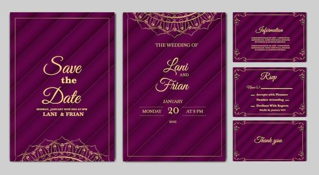 Набор элегантных свадебных приглашений на свадьбу
