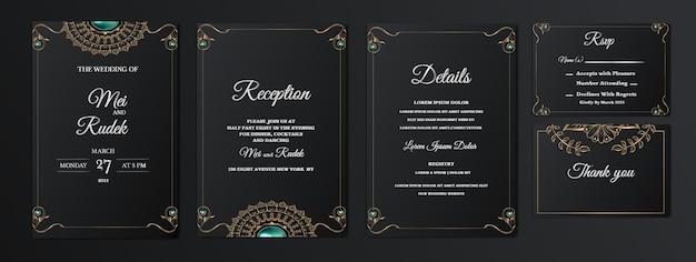 Набор элегантных элегантных свадебных приглашений на дату Бесплатные векторы