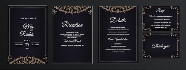 エレガントなセットコレクション日付の結婚式の招待カードを保存