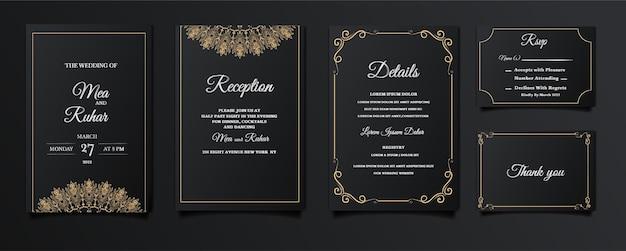 Набор элегантных элегантных свадебных приглашений на дату