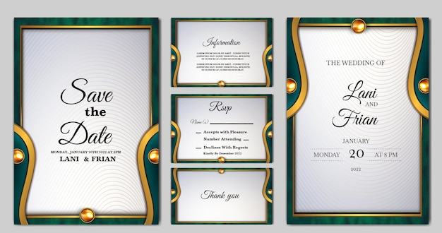 Set collection elegant wedding invitation card template