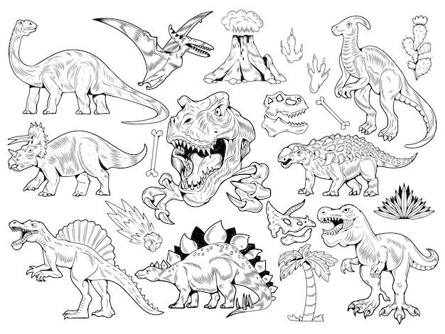 コレクションの恐竜を彫刻するセット。
