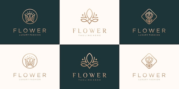 Set of collection flower rose luxury  logo design