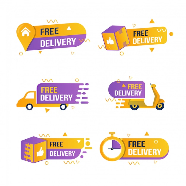 Set of collection of free delivery stickers