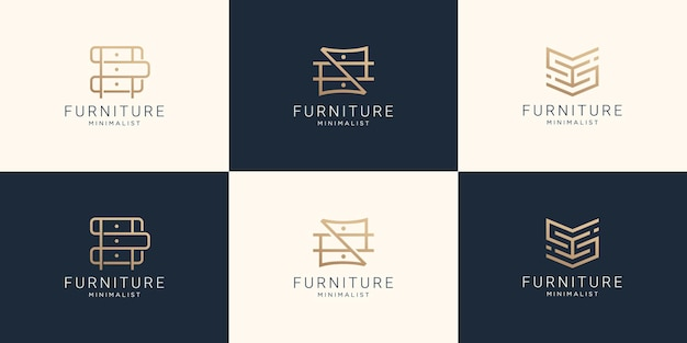 Set of collection furniture logo in line art