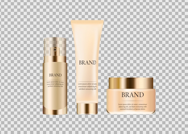 Set, collection of glass cosmetic packages