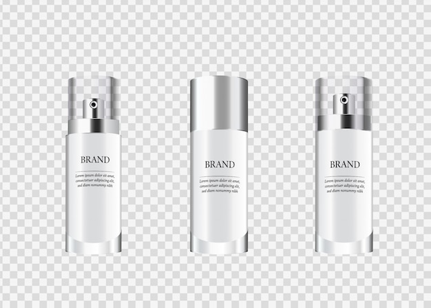Set, collection of glass cosmetic packages.