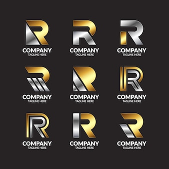Set of collection gold and silver monogram letter r logo design