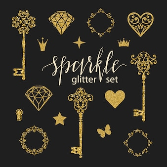 Set collection of golden glitter elements