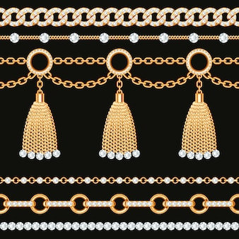 Set collection of golden metallic chain borders with gemstones and tassels.