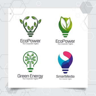 Set collection of green energy logo template bulb smart idea design concept of leaves
