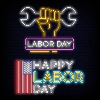 Set collection happy labour day neon sign vector illustration