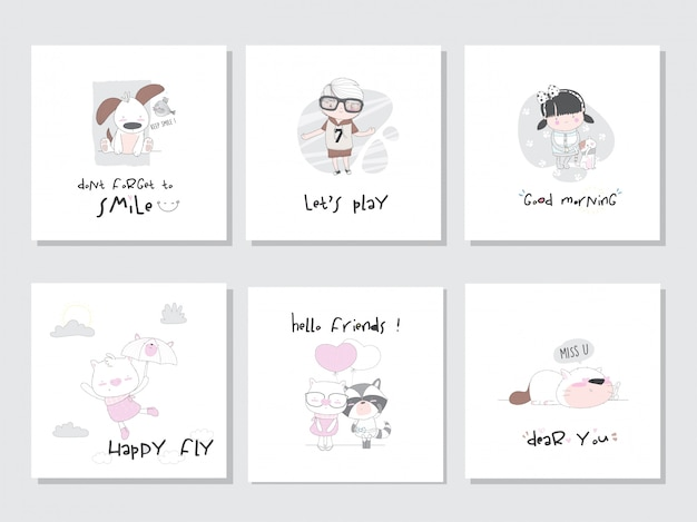 Set collection illustration animal  kids for children