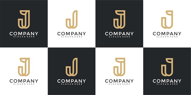 Set of collection initial letter j logo design template