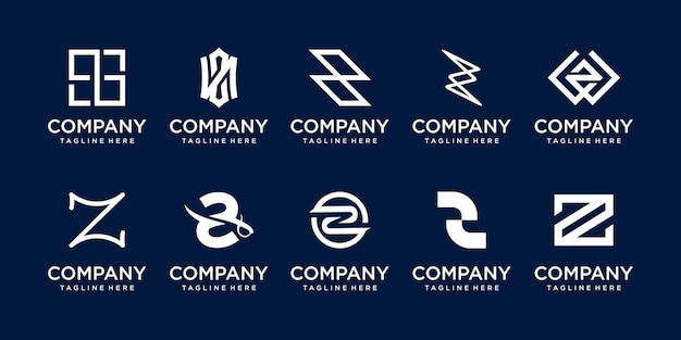 Set of collection initial letter z logo template.