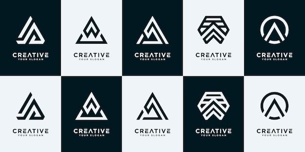 Set of collection initials a logo design templates.