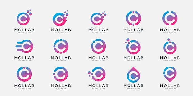 Set of collection letter c with dot and molecule concept logo template.