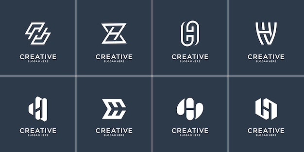 Set of collection of letter h template. flat and line art shape logo initial h