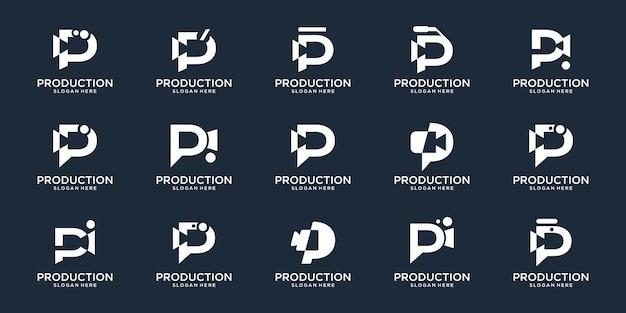 セットコレクションレターpとクリエイティブカメラビデオフィルム制作セットデザインのインスピレーション。