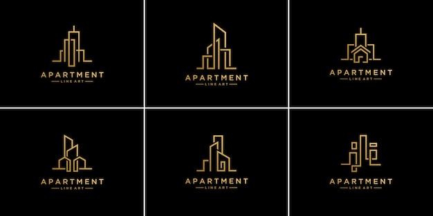 Набор шаблонов дизайна логотипа недвижимости лайнера коллекции.