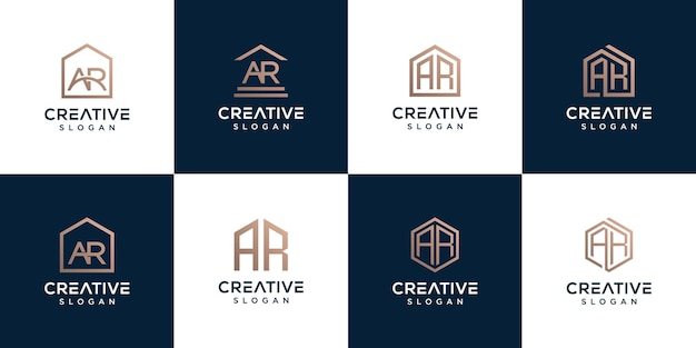Set of collection logo letter ar combination with home