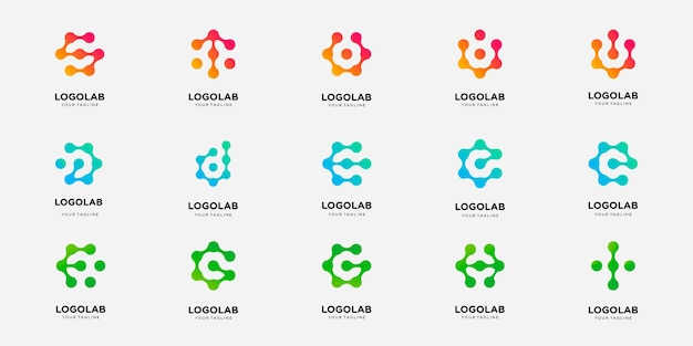 Set of collection logotype letter with dot and molecule concept logo template.