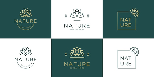 セットコレクション高級エレガントフラワーロゴデザイン