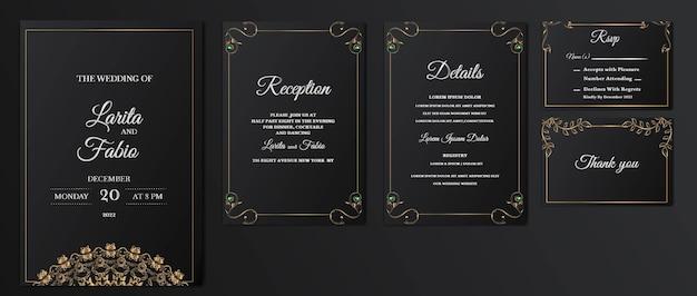 豪華なセットコレクションは、日付の結婚式の招待カードを保存