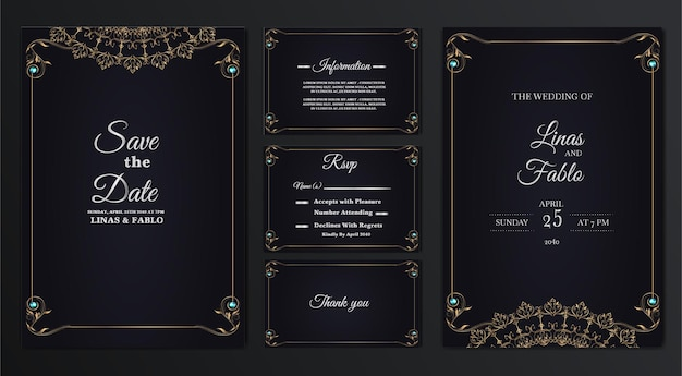 Set collection luxury wedding invitation card design