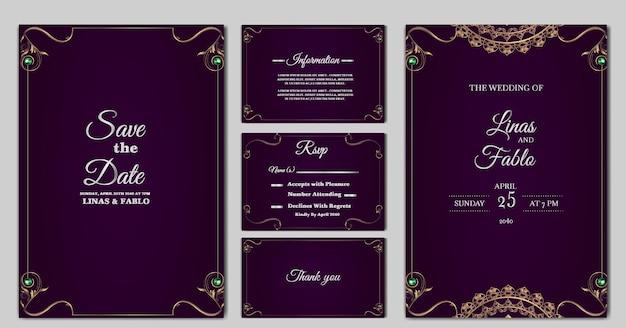 Impostare il design del modello di carta di invito a nozze di lusso di raccolta