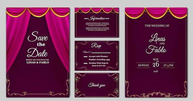 Set collection luxury wedding invitation card template