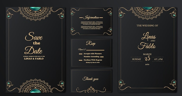 Set collection luxury wedding invitation cards template